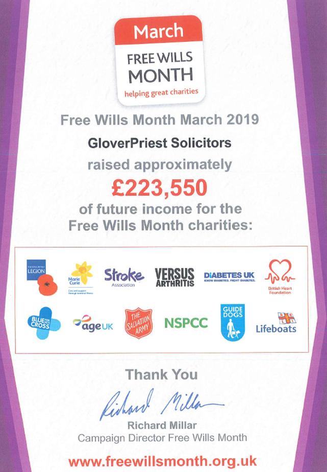 GloverPriest Wellingborough Free Wills Month Certificate of money raised